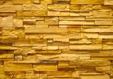 De gele muur van het steenblok Stock Foto