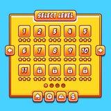 De gele panelen van de het niveauinterface van het spelmenu ui Stock Fotografie
