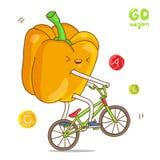 De gele peper berijdt een fiets royalty-vrije illustratie