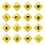 De gele pictogrammen van het weerteken stock foto