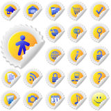 De gele Reeks van het Pictogram van de Schil van de Sticker Stock Foto