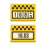 De gele Reeks van het Taxameterpictogram Vlakke stijlvector Stock Foto