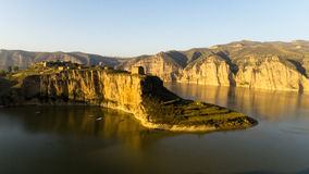 De Gele Rivier en de Grote Muur Stock Foto