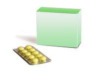 De gele ronde pillen zijn geïsoleerda op een witte backgro Stock Afbeeldingen