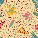 De gele roze vector verlaat naadloos achtergrondpatroonontwerp stock illustratie