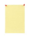 De gele spatie thumbtacked geregelde document pagina Royalty-vrije Stock Foto's
