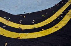De gele sporten volgen hoogtepunt van kleurrijke bladeren royalty-vrije stock foto