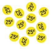 De gele stickers van de vijfentwintig centengarage sale Royalty-vrije Stock Afbeeldingen