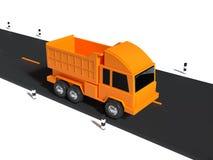 De gele stijl van het vrachtwagenbeeldverhaal bij weg het minimale 3d teruggeven vector illustratie