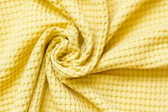 De gele textiel, sluit omhoog Hoogste mening Abstract geruit patroon Royalty-vrije Stock Fotografie