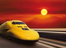 De gele trein van de hoge snelheid Stock Foto