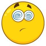 De gele Uitdrukking van Beeldverhaalsmiley face character with hypnotized en Vooruitstekende Tong stock illustratie