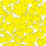 De gele vector naadloze achtergrond van kleurenharten Royalty-vrije Stock Afbeelding
