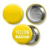 De gele Vector van het Kentekenmodel Pin Brooch Yellow Button Blank Twee Kanten Voor, Achtermening Het brandmerken Ontwerp 3D Rea stock illustratie