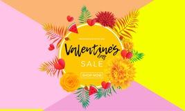 De gele de verkoopbanner van de valentijnskaartendag van harten, nam bloemen en palmblad of bes op roze achtergrond toe Vectorval stock illustratie