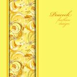 De gele verticale grenspauw bevedert patroonachtergrond Tekstplaats Royalty-vrije Stock Fotografie