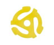 De gele Vinyl 45 Adapter van het t/min- Verslag Royalty-vrije Stock Foto's