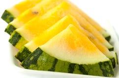 De gele watermeloen van de plak Stock Fotografie