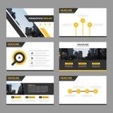 De gele zwarte Abstracte presentatiemalplaatjes, Infographic-het vlakke ontwerp van het elementenmalplaatje plaatsen voor de vlie Stock Foto's