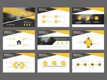 De gele zwarte Abstracte presentatiemalplaatjes, Infographic-het vlakke ontwerp van het elementenmalplaatje plaatsen voor de vlie Royalty-vrije Stock Foto's