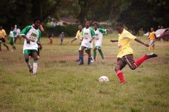 De gelijke van de voetbal in ver dorp, SOuthAfrica Royalty-vrije Stock Afbeelding