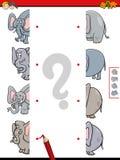 De gelijkehelften van olifants onderwijsspel Royalty-vrije Stock Foto's