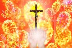 De gelovige, achtergrond van Jesus-Christus Gloria bokhe Stock Fotografie