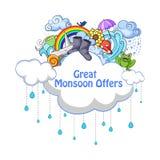 De gelukkige Aanbieding van de Moessonverkoop promotie en banner stock illustratie