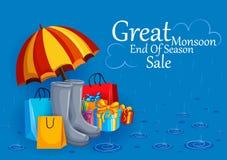 De gelukkige Aanbieding van de Moessonverkoop promotie en reclamebanner stock illustratie