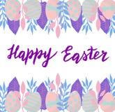 De gelukkige aardige kaart van Pasen met hand het getrokken van letters voorzien stock foto's