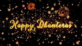 De gelukkige Abstracte deeltjes van Dhanteras en schitteren de kaarttekst van de vuurwerkgroet stock illustratie