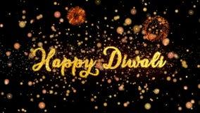 De gelukkige Abstracte deeltjes van Diwali en schitteren de kaarttekst van de vuurwerkgroet stock illustratie