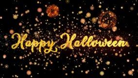 De gelukkige Abstracte deeltjes van Halloween en schitteren de kaarttekst van de vuurwerkgroet royalty-vrije illustratie