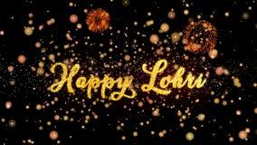De gelukkige Abstracte deeltjes van Lohri en schitteren de kaarttekst van de vuurwerkgroet stock illustratie