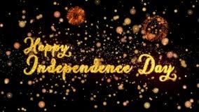 De gelukkige Abstracte deeltjes van de Onafhankelijkheidsdag en schitteren de kaarttekst van de vuurwerkgroet vector illustratie