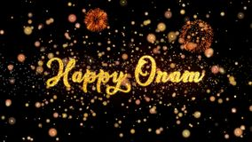 De gelukkige Abstracte deeltjes van Onam en schitteren de kaarttekst van de vuurwerkgroet stock illustratie