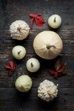 De gelukkige Achtergrond van de Dankzegging Selectie van diverse decoratieve witte pompoenen op donkere houten achtergrond stock foto's