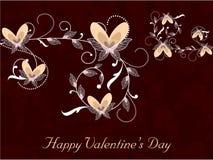 De gelukkige achtergrond van de Dag van Valentijnskaarten met bloemen verfraaide harten. EP Stock Foto