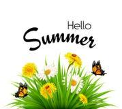 De gelukkige achtergrond van de de zomervakantie met bloemen royalty-vrije illustratie