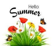 De gelukkige achtergrond van de de zomervakantie met bloemen en vlinders vector illustratie