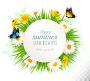 De gelukkige achtergrond van de de zomervakantie met madeliefjes en butte vector illustratie