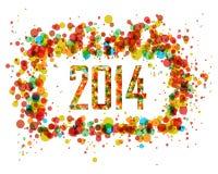De gelukkige achtergrond van de Nieuwjaar 2014 abstracte cirkel Stock Fotografie