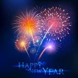 De gelukkige achtergrond van de Seizoenengroeten van Starburst van de Nieuwjaarviering abstracte met vuurwerk Royalty-vrije Stock Afbeeldingen