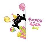 De gelukkige achtergrond van de Verjaardagskaart met een kat royalty-vrije illustratie