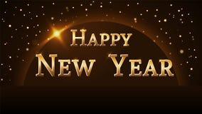 De gelukkige achtergrond van het Nieuwjaar Magische gouden regen en bol Gouden tekst en planeet op horizon Het ontwerp van de Ker royalty-vrije illustratie