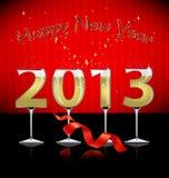 De gelukkige achtergrond van het Nieuwjaar met gestileerd glas Stock Foto's
