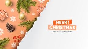 De gelukkige Achtergrond van de Kerstmissamenstelling royalty-vrije illustratie
