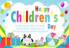 De gelukkige achtergrond van de kinderendag, de dagaffiche van kinderen met gelukkig jonge geitjesmalplaatje voor reclamefolder u stock illustratie