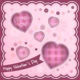 De gelukkige achtergrond van de Valentijnskaartendag met harten en bloemen royalty-vrije illustratie