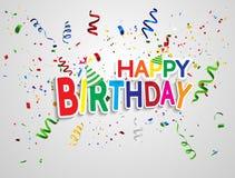De gelukkige achtergrond van de Verjaardags Kleurrijke viering met confettien Stock Afbeeldingen